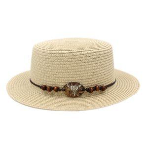 Fashion Ladies Summer Straw Boater Hat Sailor Women Porkpie Hat Bowler Beach Sun Top Cap Western Style Ox Head Hatband