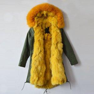 İtalya Büyük Marka tasarım kadın ceket / parka / Ordu yeşil kürk gerçek ceket kaliteli fabrika fiyatı