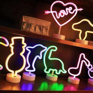 Retro Cartoon LOVE LED Neon Sign Handcraft Party Wedding Home Decor LED Tube USB Power Desk Led Lamp Illumination