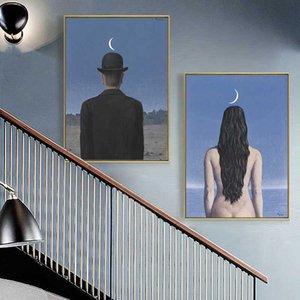 Rene Magritte Künstler surrealistischen Ölgemälde auf Leinwand Cuadros Poster und Drucke Scandinavian Wall Art Bild für Wohnzimmer