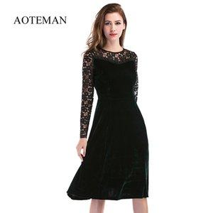 Aoteman Sommer Herbst Kleid Frauen Casual Langarm Aushöhlen Sexy Spitzenkleid Weibliche Elegante Feste Party Club Kleider Vestidos Q190402