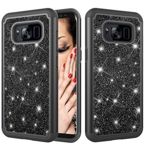 Glitter Powder Contrast Skin Shockproof Silicone + PC Protective Case for Galaxy S8