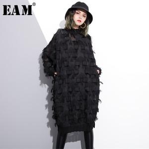 [EAM] 2018 New Outono-Inverno Fique Collar manga comprida Perspectiva Preto solto borlas Big Size vestido Mulheres Moda Tide JI780