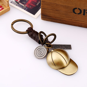 Baseball Cap Keychain Vintage Letters Charm Key Ring Woven Leather Pendant Key Chain for Women Men Sport Keyring Jewelry Couple Accessories