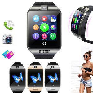 دعم الذكية ووتش مع الكاميرا Q18 بلوتوث ساعة ذكية SIM بطاقة TF للياقة البدنية آخر المقتفي الرياضة ووتش للحصول على الروبوت