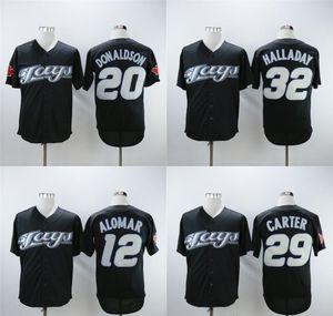 Para hombre de Toronto Jersey 12 Roberto Alomar 20 Josh Donaldson 29 Joe Carter 32 Roy Halladay 2008 Retro Negro jerseys del béisbol