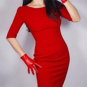 2020 Orta Ve Uzun Stil Deri Eldivenleri 28cm Emülasyon Deri Koyun postu Elastik PU Deri Bayan Noel Çinli Kırmızı WPU55