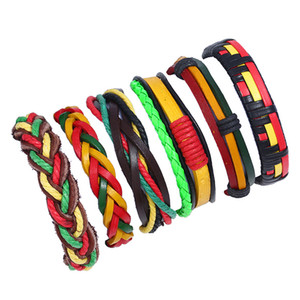 Pulseiras coloridas 6pcs / set encantos personalidade europeia Couro de couro trançado pulseira DIY Multilayer Retro tecido wrap jóias ajustáveis