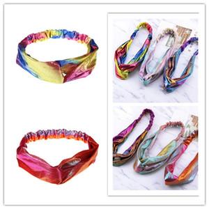 Femmes Bandeau Gradient Rainbows métallique double Couleur Bandeaux se laver le visage headwrap filles Color Magic Laser Tissu Tête bande E22608