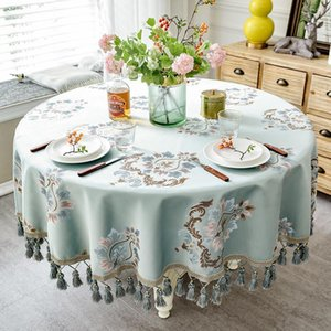 European style Luxury jacquard Tablecloth With Tassel for Wedding Birthday Party Round Table Cover Desk Cloth for home decor Y200421