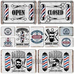 Barber Metal Sign Vintage BARBER SHOP Metal Poster Cafe Bar Pub Tin Sign Plaque Retro Haircut and Shave Beard Iron Plates Printing Home 2020