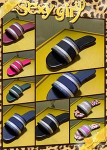 moda topuk terlik Yaz lüks kadın plaj Alfabe Terlik Tasarımcı Kaba sandalet Örme kumaş Nakış kadın ayakkabı 34-40