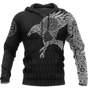 Viking The Raven of tatuagem 3D Impresso Men Hoodies Retro Harajuku Moda moletom com capuz Outono com capuz streetwear Casual Hoodie Y200519