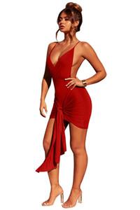 جديد مثير للمرأة عالية الخصر حبال التجاعيد اللباس المنخفضة قطع الخامس الرقبة ضمادة ضيقة ملهى ليلي بلون تنورة قصيرة