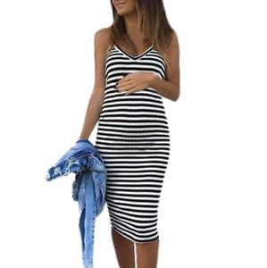 Schwangere Lässige Kleidung Sommer Umstandskleid Umstandsärmel gestreifter Druck Stillen Sundress Schwangerschaft Kleid
