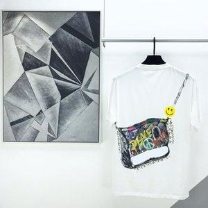 pintura de aceite de Verano Europa la moda de París manga corta colorido de hombro bolsa de graffiti impresión de la camisa t camiseta de los hombres de las mujeres ocasionales cartas camiseta de algodón