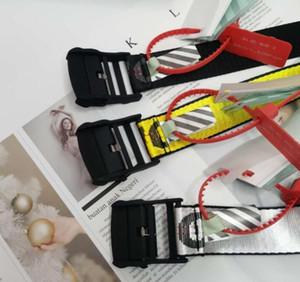 19SS New Off Gelb Weiß Gürtel Stickerei Leinwand Brief Lange Gürtel für womne Luxuxentwerfer Marke Industrie Gürtel Tropfen freies Verschiffen