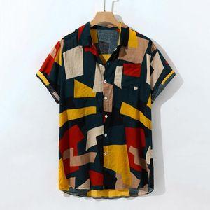 Coton hommes hawaïenne Chemise col vers le bas Tourner imprimé géométrique d'été 2019 Chemises Casual Streetwear Vêtements pour hommes Camisa Masculina