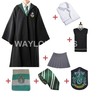 Harris kostüm Ücretsiz Kargo Slytherin Cosplay Robe Cloak Kazak Süveter Gömlek Etek Kravat Rozet Eşarp