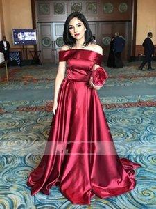 2020 Burgundy Tekne Boyun Ünlü Abiye Saten Uzun Backless dökümlü Balo Abiye Elbiseler De Soirée Özel Durum Örgün Elbise