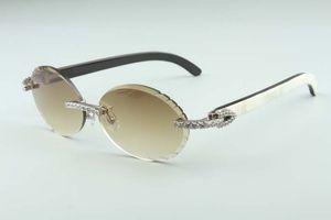 2019 Newest fashion T3524016-8 cutting lenses diamonds sunglasses, natural hybrid buffalo horn legs retro oval glasses, size: 58-18-140mm