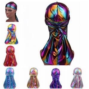 Nuevo Colorido Brillante Durags Turban Bandanas Para Hombres y Mujeres Brillante Sedoso Durag Headwear Bandas para la cabeza Accesorios para el cabello Gorros de ola Trapos Sombrero