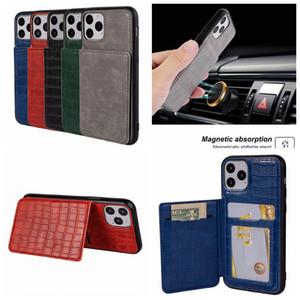 Kroko-Leder-Mappen-Kasten für Iphone 11 Pro XS MAX XR X 8 7 6 Snake Crocodile + Auto-Halter-Metallstandplatz-Halter Magnet ID-Karten-Slot Cover-Rückseite