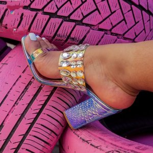 avec des perles de cristal boîte de luxe sandales en strass brillant bloc mules à talons femmes glisse talon designer