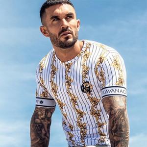Beiläufiger Männer-T-Shirt-Streifen-Sommer-Mann-T-Shirt Art und Weise übersteigt Streetwear Männer-T-Shirts Hip Hop-Marken-Kleidung der Männer T-Shirt-Männer