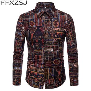 FFXZSJ 2019 Nuevo otoño para hombre de manga larga de impresión Slim Fit algodón camisas ocasionales estilo de vacaciones de vacaciones camisas moda urbana ropa