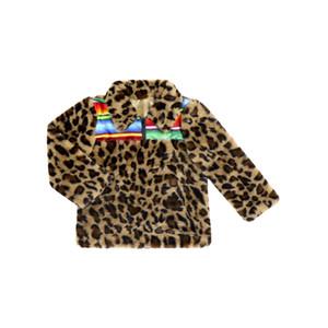 Kinder-Plüsch-Mantel-Baby-Leopard-Druck-Pelz-Jacken Outwear Kinder Velvet verdicken Warm Tops Winter-Regenbogen-Streifen Coats GGA3097-7