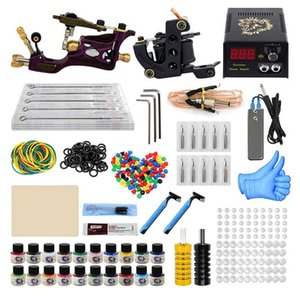 Tattoo Guns Kits Machine Kit Professional Complete 10 Coil 2 Tatoo Power Supply Ink Needle Tip Grip Set For Tatto Artists Top Quality