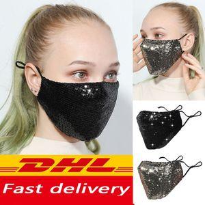Мода Bling Bling Блестки Защитная маска РМ2,5 пыле Mouth крышка Washable Многократное маска Упругие ушной Mouth маска DHL быстрый корабль