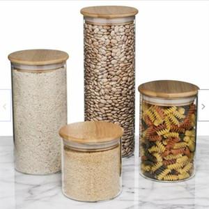 Набор стеклянных контейнеров для хранения пищевых продуктов, герметичные пищевые банки с бамбуковыми деревянными крышками-набор из 5 кухонных канистр для сахара, конфет, печенья, риса an4