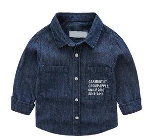 2019 Yeni Bebek Su yıkanmış Jeans Turn-yaka Chao Tong Gömlek Fabrikası Doğrudan Satış Boys'Soft Uzun Kollu Gömlek En çok satan