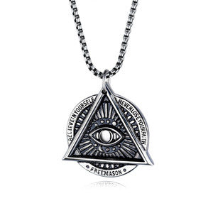 Ojo del collar mal de ojo masón Providencia en acero inoxidable Talisman sesión Medallion regalos Illuminati joyería
