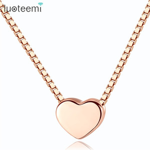 LUOTEEMI Authentique 925 Sterling Argent Rose Couleur Collier Pour Les Femmes Amour Coeur Conception Pendentif Colliers Romantique Bijoux
