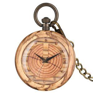 Einzigartige Quartz Holz Taschen-Uhr-Frauen Uhr Schlüsselbund Dial abnehmbare Leuchtkette Holz Männer hängende Uhr-Geschenk T200502