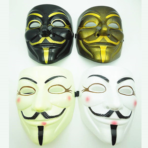 V für Vendetta-Schablone Weiß, Schwarz, Gelb Maske mit Eyeliner Nostril Anonymous Guy Fawkes Fancy Kostüm für Erwachsene Halloween-Party-Maske VT0771