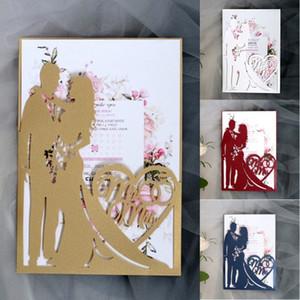 Invitaciones de boda Compromiso ahuecado con láser Tarjetas de invitación de boda Tarjeta de felicitación de la fiesta de aniversario de boda