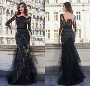 2021 Elegant Mermaid Evening Dresses Long Sleeves Lace Appliques Beads Prom Gowns Custom Made Sweep Train Special Occasion Dress