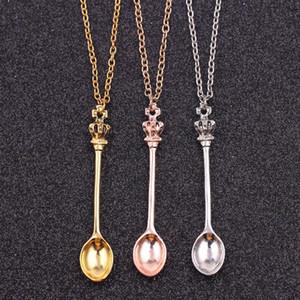 Hot neuen Schmuck, Kette ,, Gold, Silber, Krone Mini Teekanne Königs Alice Schnupftabak Halskette, Krone Löffel Anhänger Halskette WCW152