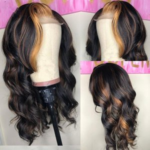 Ombre Highlights Color Full Lace Human Hair Wigs For Women Pre plucked Body Wave Brazilian Remy Hair With Baby Hair