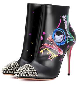 Automne Nouveau Femmes Noir en cuir blanc Graffiti peint Hauts talons sexy bout pointu Rivets Parti Bottines Chaussures de bal