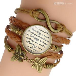 A oração da serenidade Citações inspiradas jóia de vidro cabochão Combinação pulseira artesanal Acessórios