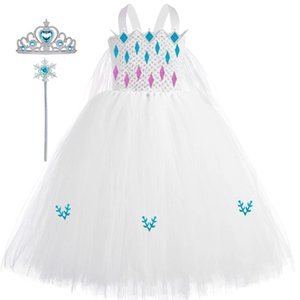 Fancy Princess Dress Girls Kids White Snow Queen Cosplay Costume Carnival Pageant Birthday Ball Party Gown Dress for Child