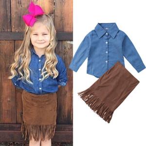 New Style crianças Baby Girl Outfits cor sólida manga comprida Blusas Jeans Tops Brown Tassel bainha da saia 2pcs Set roupas de outono Nova