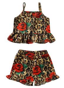 여름 신생아 유아 소녀 의류 세트 어린이 디자이너 꽃 레오파드 조끼 반바지 2 개 세트 유아 여자 아기 의류 탑