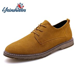 YEINSHAARS Big Size 38-47 Fashion Men Casual Kuh Wildleder Schuhe Qualitäts-Mann-Wohnungen Lace Up Multiple Color Oxfords