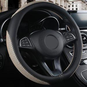 Ropa de Cuero Artificial 38 cm Resistente de dirección del protector de coche universal Fit cubierta de rueda Styling transpirable antipatinaje Easy Clean